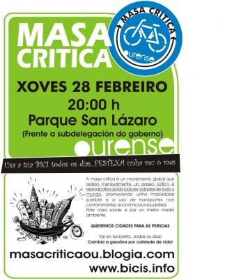 28 de Febreiro, as 20h no Parque San Lázaro,  Nova cita coa Masa Crítica